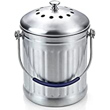 Compost Bin 1.8 Gallon Stainless Steel - Abakoo 304 Stainless Steel Kitchen Composter - 4 Charcoal Filter, Indoor Countertop Kitchen Recycling Bin Pail