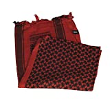 M-Tac Shemagh Tactical Desert Head Neck Scarf Men Military Army Cotton Wrap (Red - Black)