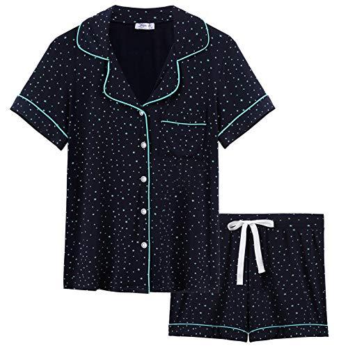 Joyaria Womens Soft Bamboo Pajama Sets Button Down Long Sleeve Pj Pants Set Sleepwear (X-Large, Navy-Star) ()
