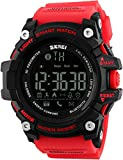 Unisex Mens LED Waterproof Smart Watches Pedometer Call and App Remind Data Storage Calorie Bluetooth Red