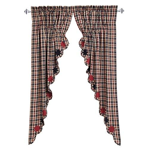 VHC Brands Carson Star Scalloped Prairie Curtain Set of 2 63x36x18