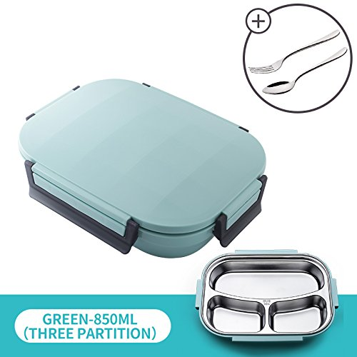 UPSTYLE Sealable Plastic Lunch Box With 18/8 Stainless Steel Interior,All-in-one Stylish Food Storage Container For Adults, Kids - Modern Square Design With Cutlery-Eco-Friendly (850ml ()