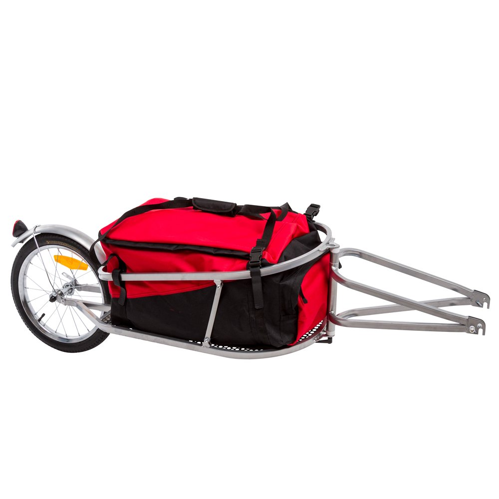 Rage Powersports BCT-8002 Single Wheel Pull-Behind Bicycle Cargo Trailer with Cargo Bag