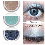 3 Eyeshadows: BEIGE + LIGHT BLUE & DARK BLUE 100% Organic Vegan Made in Canada BARE Natur-ALL MINERALS Eye Shadow Gluten & Bismuth FREE 100% Naturally Derived with mineral power instead of petrochemicals.