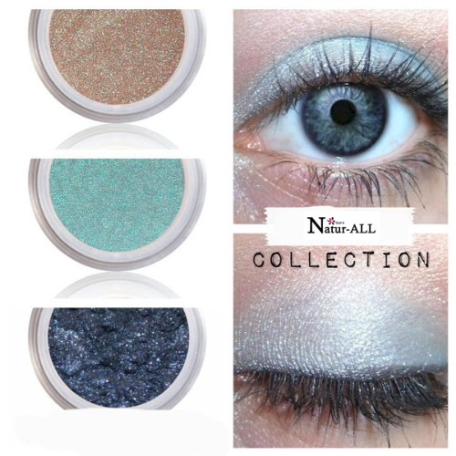 3 Eyeshadows: BEIGE + LIGHT BLUE & DARK BLUE 100% Organic Vegan Made in Canada BARE Natur-ALL MINERALS Eye Shadow Gluten & Bismuth FREE 100% Naturally Derived with mineral power instead of petrochemicals. www.barenatur-allminerals.com