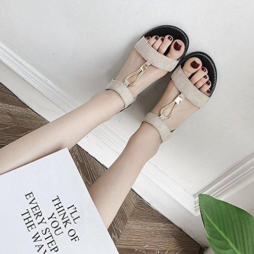 ZHZNVX Damenschuhe Sommer Beflockung Komfort im Sommer Damenschuhe Sandalen Flachem Absatz für Schwarz Beige Beige US 8 EU 39 UK6 CN 39 e74085
