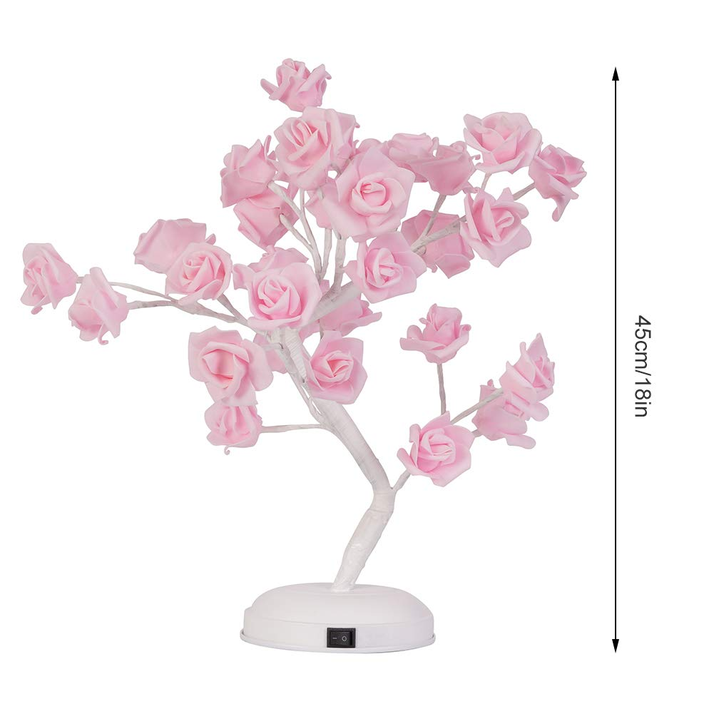 "XmasExp LED Rose Flower Table Lamp - 18"" Pink Tree Light Adjustable Decoration Desk Lamp for Home/Christmas/Party/Festival/Wedding Decor with 32 Warm White LED Lights"