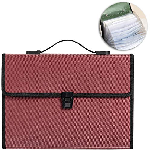 K-Flame Binder Business Portable Organ Bag 13 Grid A4 File Clips Storage Bag School Office Supplies Stationery,Red,33X24CM