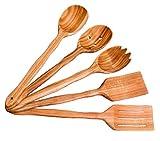 Handmade Utensil Set. Wooden Cute Kitchen Utensils Set. Cherry Wood Kitchen Supplies & Utensils Big Set of 5