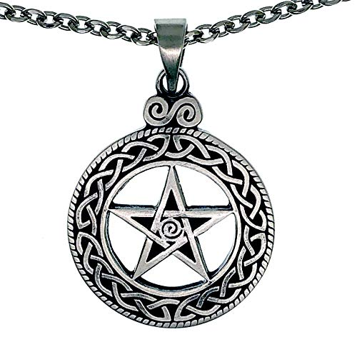 Ohdeal4U Wicca Pagan Celtic Pentagram Pentacle Star Silver Pewter Pendant Necklace Charm Stainless Steel Chain
