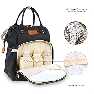 Diaper Bag Multi-function Baby Diaper Backpack Nappy Bags,Mom Dad Travel Backpack Large Capacity Baby bags With Insulated Pockets Stroller Straps for Baby Care (Black)
