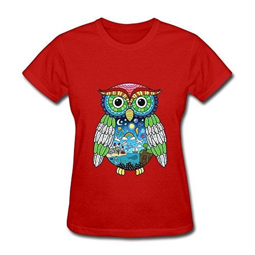 HUBA Women's Tees Owl City Adam Young Doodle Red Size M -