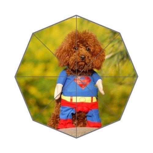 Superman Dog Costume Custom Auto Foldable Rain Umbrella Wind Resistant Windproof Floding Travel Umbrella