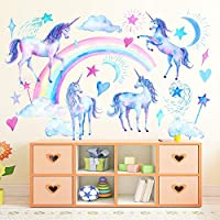 Unicorn Wall Decals, Peel and Stick Unicorn Rainbow Vinyl Wall Stickers Removable Decals for Girls Bedroom Kids Room Nursery, Unicorn Wall Art Home Decorations Party Supplies