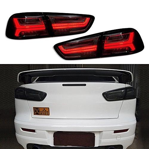 Vland LED Tail Lights For 2008-2017 Mitsubishi Lancer/Evo X LED Rear Lamps Audi Style (SMOKE)