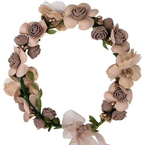 - Adjustable Flower Headband Hair Wreath Floral Garland Crown Halo Headpiece with Ribbon Boho Wedding Festival (brown-Flower Headband)