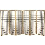 Oriental Furniture 4 ft. Tall Window Pane Shoji Screen - Natural - 6 Panels
