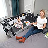 Sleeper Bed Side Crib for Baby - Baby Beside Sleeper Bassinet Include Sheet Mattress, Diaper Changer,Hanging Diaper Caddy - Keep Baby Beside Your Bed - Multifunction Baby Bed