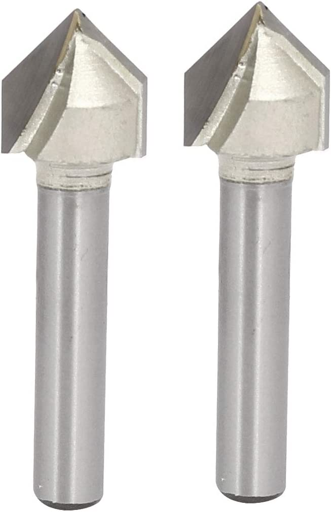 2pcs Steel Tipped V Grooving Bit uxcell 90 Degree V-Groove Router Bit 1//2 Dia with 1//4 Shank Beige