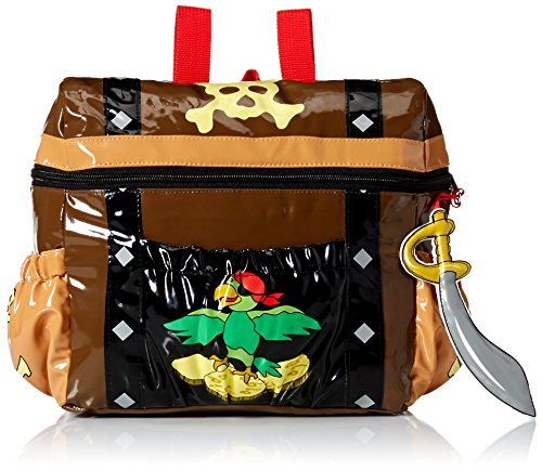 (Kidorable Toddler (7 x 10 inches) Brown Pirate, Fun Cutlass Zipper & 3D Embelishments Backpack)