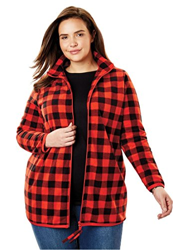 Woman Within Plus Size Zip-Front Microfleece Jacket - Electric Red Buffalo Plaid, M
