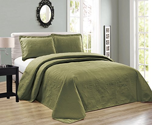 - Elegant Home Beautiful Over Sized Olive Sage Green Solid Color Embossed Floral Striped 3 Piece Queen / Full Size Coverlet Bedspread (Queen / Full, Sage Green)