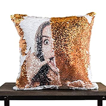 PrankPillows Your HIDDEN FACE on Reversible Sequins White and Silver
