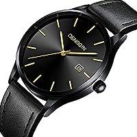 Men Leather Watch - Wrist Business Stainless Steel Watches - Quartz Classic Analog Ultrathin Watch for Gentlemen Gold