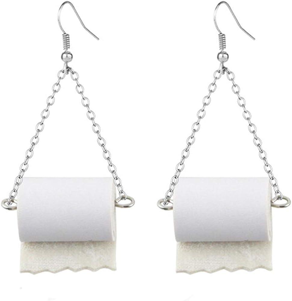 Sterling Silver Toilet Paper Roll Earrings DORAFO Adorable Paper Towel Rolls Dangle Statement Earrings Hypoallergenic Kawaii for Women Girls