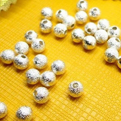 Beautiful Bead 100pcs Spacer Beads Findings Stardust Silver Plated Base Round 8mm for Jewelry Making