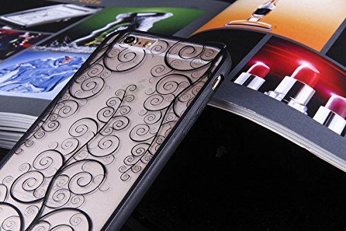 König-Shop Handy Hülle Mandala für Apple iPhone 8 Plus Design Case Schutzhülle Motiv Blume Cover Silikon Tasche Bumper Schwarz
