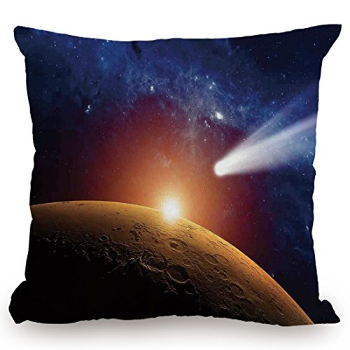 Throw Pillow Cushion Cover,Outer Space Decor,Comet Tail Approaching Planet Mars Fantastic Star Cosmos Dark Solar System Scenery,Bue Orange,Decorative Square Accent Pillow Case by KissCase