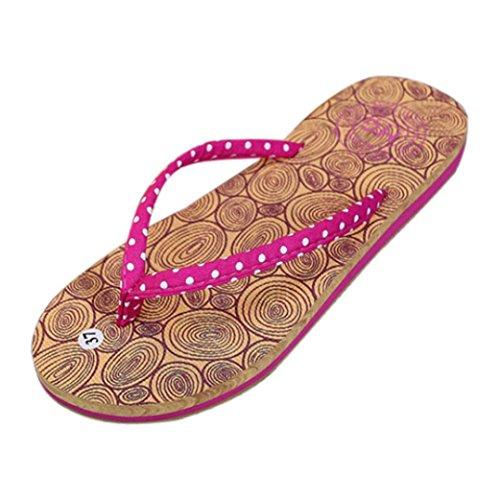 IGEMY Women Girls Summer Holiday Flip Flops Sandals Flat Shoes Beach Flip Flops Shoes Hot Pink
