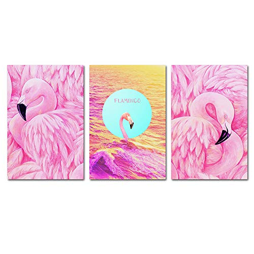 BIL-YOPIN Canvas Wall Art Flamingos Pink Birds Painting 16x24inch x 3 Pieces Framed Canvas Pictures Prints Contemporary Watercolor Artwork Ready to Hang for Home Decoration Office Wall D cor 3 Panels