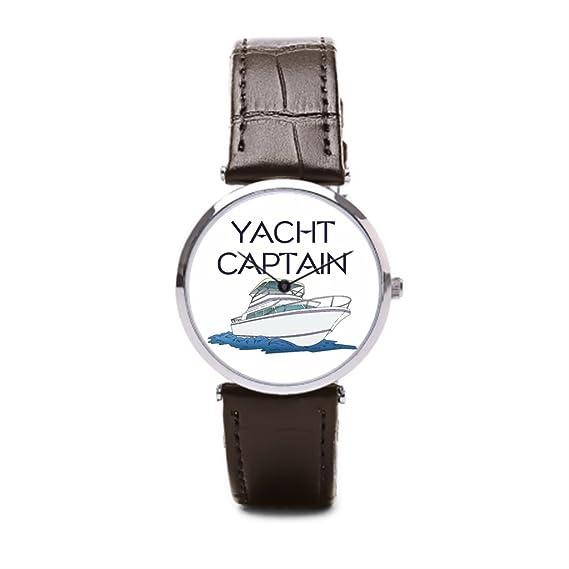 puppya baratos Capitán de Yate de piel relojes para hombre relojes piel Capitán marrón/plata: Amazon.es: Relojes