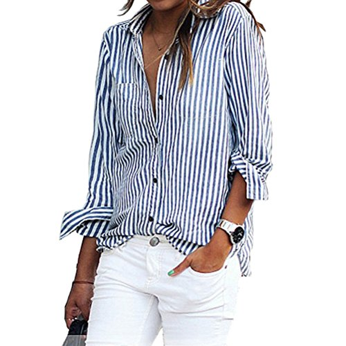 Stripe Long Sleeve Button - 8