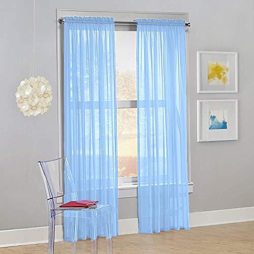 "Decotex Set of 2 Sheer Voile Transparent Window Panel Curtain Drapes (54"" W X 84"" L, Light Blue)"