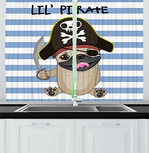 Pirate Kitchen Curtains by Ambesonne, Buccaneer Dog in Cartoon Style Costume Holding Sword Lil Pirate Striped Backdrop, Window Drapes 2 Panel Set for Kitchen Cafe, 55 W X 39 L (2 Dogs Holding A Present Costume)