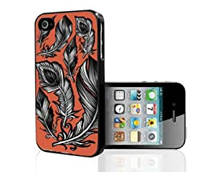 Black and White Feathers on Peach Background Hard Snap on Phone Case (iPhone 4/4s)