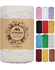 MONOBIN Macrame Cord, Colored Macrame cotton Rope 3mm,4mm,5mm - 4 Strand 100% Natural Soft Cotton Cord for Macrame,Plant Hanger, Wall Hanging, DIY Craft Making, Home Decoration