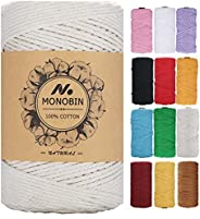 MONOBIN Macrame Cord, Colored Macrame cotton Rope 3mm,4mm,5mm - 4 Strand 100% Natural Soft Cotton Cord for Mac