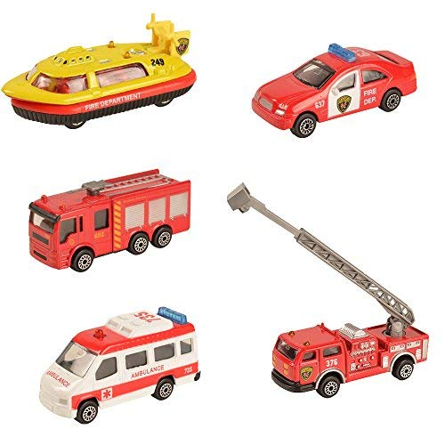 BOHS Pack of 5pcs- Canton Fire Department Rescue Vehicles- Mini Metal Miniature Diecasts -Hovership,Aerial Ladder Fire Trucks, Ambulance,Patrol Car,Water Tank Fire Engine