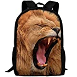 Africa Wildlife Lion Print Custom Casual School Bag Backpack Multipurpose Travel Daypack