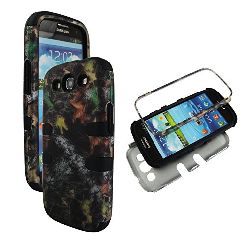 Samsung Galaxy S3 Camo - Hybrid 3 in 1 Black Camo Stem Samsung Galaxy S3 / S 3 / III i9300 High Impact Shock Defender Plastic Outside with Soft Silicon Inside Drop Defender Snap-on Cover Case