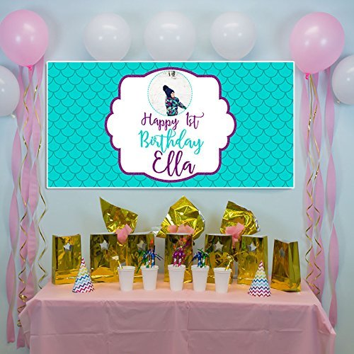 Teal Mermaid First Birthday Banner Party Decoration Backdrop