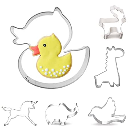 jspoir melodiz 6 unidades liebliche Animales Acero Inoxidable Galletas Moldes, unicornio Pájaros jirafa alce Pato