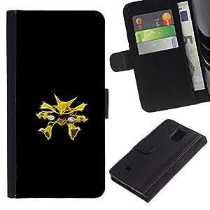 YiPhone /// Tirón de la caja Cartera de cuero con ranuras para tarjetas - Meter Monster Amarillo - Samsung Galaxy Note 4 IV