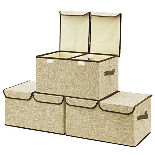 Large Storage Boxes [3-Pack] EZOWare Large Linen Fabric Foldable Storage Cubes Bin Box Containers with Lid and Handles - Beige For Home, Office, Nursery, Closet, Bedroom, Living Room by EZOWare
