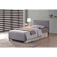 Grey Fabric Tufted Button Platform Bed Frame Twin Size, Headboards and Footboard with Solid Wood Legs and Full Slats - Need Mattress only, No Box Spring
