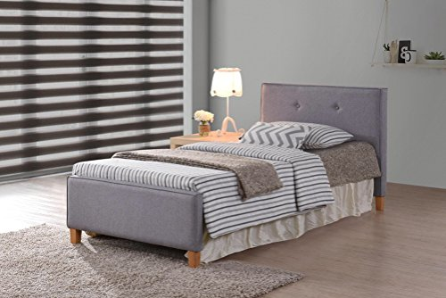 Grey Fabric Tufted Button Platform Bed Frame Twin Size, Headboards and Footboard with Solid Wood Legs and Full Slats - Need Mattress only, No Box Spring ()